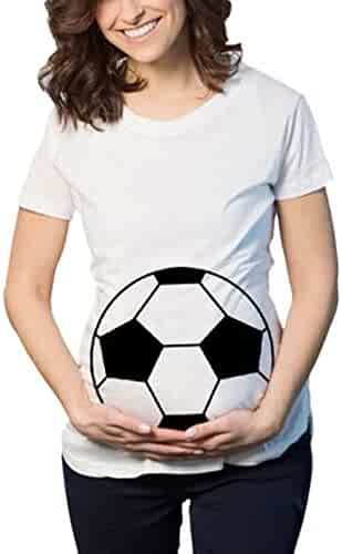 8bc24d23 Sothread Maternity Soccer Ball Belly Baby Funny Pregnancy Announcement Gift Shirt  T Shirt
