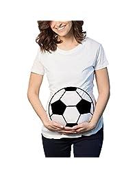 Wenjuan Womens Soccer Print Pregnant Casual Nursing Blouse Maternity T-Shirt Tops