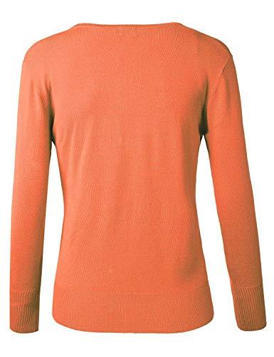 Maniche Tempo Donna Mode neck Autunno Giacca A Libero Forti Outwear Giacche Fine Fashion Di Base Marca Lunghe Breasted Maglia V Arancia Single Elegante Bolawoo Taglie Cappotto tP0qt