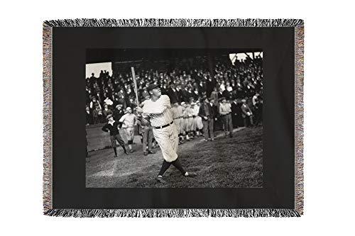 Lantern Press Babe Ruth at Dugdale - Seattle, WA 1251 (60x80 Woven Chenille Yarn Blanket)