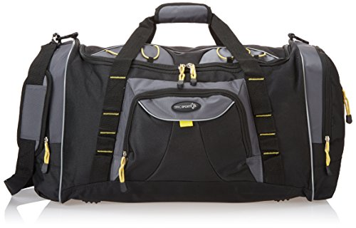 "TPRC 26″ Black with Yellow Trims ""Sierra Madre"" Sport Weekend Duffel with Dual Side Pockets"