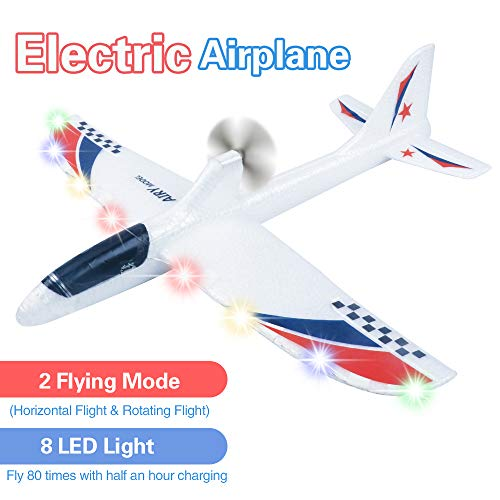 Electric Airplane Toys, Rechargeable 2 Flight Mode Throwing Plane, Outdoor Sport Toy, Foam Education Glider Aeroplane for boys Adults, Family Flying Game Toy,Styrofoam Airplanes,Gift for Kids Teenager (Electric Airplane Glider)