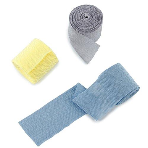 LaRibbons Chiffon Silk-like Ribbon - 2''X 6 Yard Each Roll - 3 Rolls (Dusty Blue + Lemon + Grey), Ribbons for Wedding Decor, Bouquets, Gift Wrapping by LaRibbons