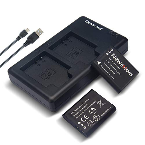 Newmowa Li-90B Battery (2 Pack) and Dual USB Charger Kit for Olympus Li-90B, Li-92B and Olympus SH-1, SH-50 iHS, SP-100, Tough TG-1 iHS, TG-2 iHS, Tough TG-3, Tough TG-5, and DB-110, GR III, WG-6