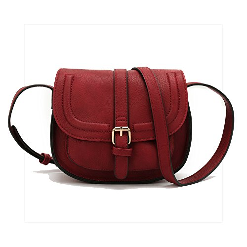 Red Shoulder Bag Purse (Small Shoulder bags Leather Satchel Mochila Vintage Handbags for Women - Black, Brown, Blue, Red, and Brand New Olive Green with Adjustable strap AND Magnetic Butto)