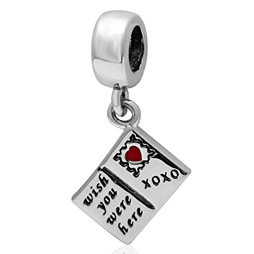 Hoobeads Wish You Were Here Postcard Travel Charm Authentic 925 Sterling Silver Red Enamel Heart Dangle Charms Fit -
