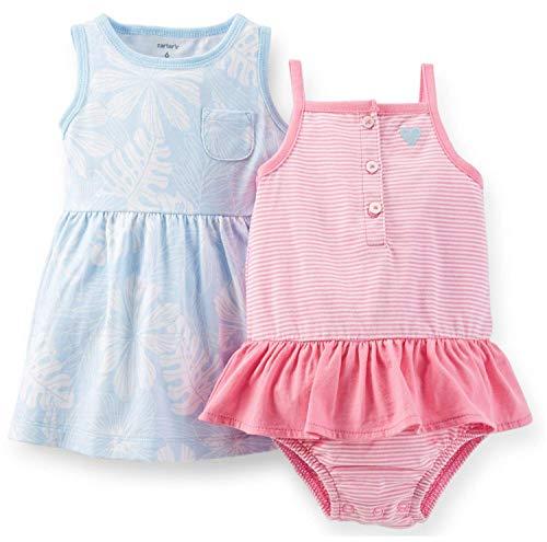 Carter's Baby Girls Dress & Bodysuit Set (newborn, Pink Stripes/Blue)