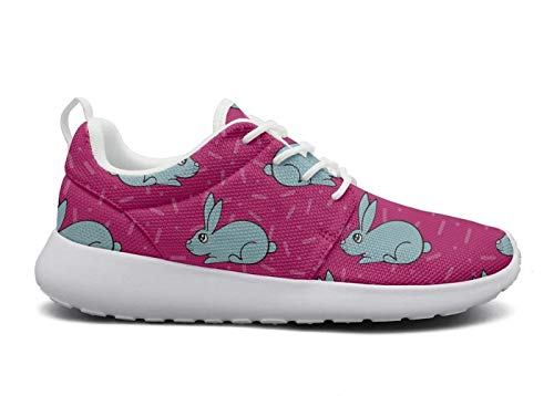 eight Breathable Mesh Athleisure Sneakers Lovely Hares Blue Bunny Red Fashion Walking Shoes ()
