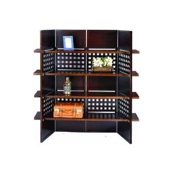 4-Panel Wooden Room Divider with Book Shelves (Espresso)