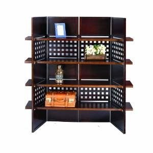 4-Panel Wooden Room Divider with Book Shelves (Espresso) by SQUARE FURNITURE