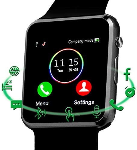 Smart Watch,Android Smart Watches for Men Women Teens with SIM SD Card Slot SmartWatch Compatible Android Samsung iPhone Watch with Call Text Camera Pedometer Bluetooth Watches