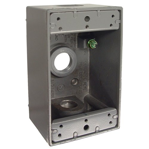 Hubbell-Bell 5320-0  Raco Single Gang Weatherproof Box, 3-1/2-Inch Outlets, Gray
