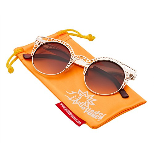 grinderPUNCH Women's Metal Cut Hollow Out Round Cat Eye Sunglasses - Sunglasses Fleur