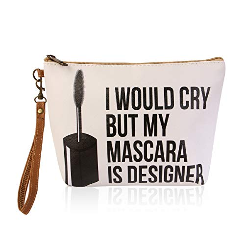 Cute Print Cosmetic Bag - Travel Makeup Organizer Message Pouch Toiletry Wristlet Purse Inspirational Quote/Sugar Skull/Mascara/Pineapple (I Would Cry but My Mascara is Designer)