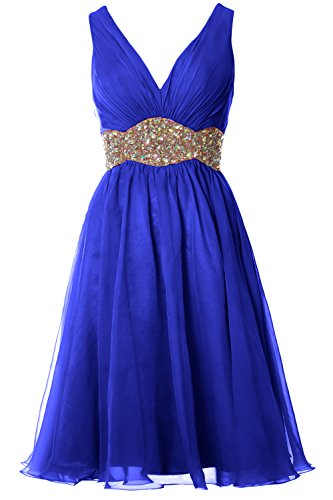 V MACloth Wedding Chiffon Women Gown Dress Blue Straps Short Neck Royal Prom Cocktail Ball E6p6Uq