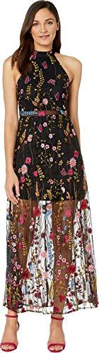 Betsey Johnson Women's Floral Embroidered Maxi Dress Black Multi - Betsey Apparel Johnson Dress Halter