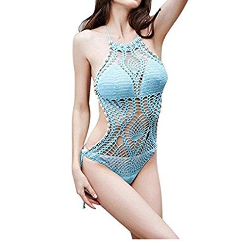 Arkind Mujer Bikini Maillot de Bain gancho tejer Atractivo Playa cabestrillo Retro junto traje de baño Azul