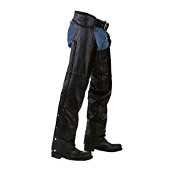 Unisex Braided Black Leather Biker Motorcycle Chaps