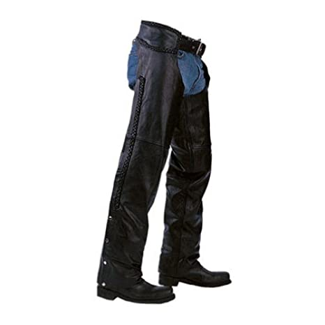 Unisex Braided Black Leather Biker Motorcycle Chaps New All Sizes (X-LARGE) LLL