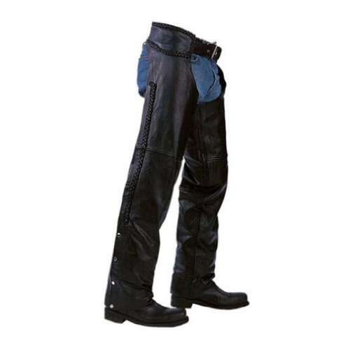 Unisex Braided Black Leather Biker Motorcycle Chaps New All Sizes (LARGE)