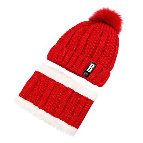 Fashion Women's Winter Wool Ball Plus Velvet Thick Knit Hat Two-Piece ()