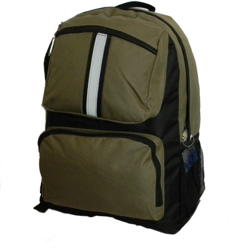 USA Wholesaler- 25362743-18 '' Backpack with safety reflective stripe - Oliver Green Case Pack 30
