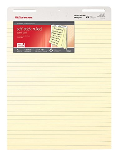Office Depot Brand Bleed Resistant Self-Stick Easel Pads, 25'' x 30'', 40 Sheets, 30% Recycled, Yellow, Pack Of 2 by Office Depot (Image #2)