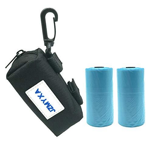 (JZMYXA Dog Waste Bag Holder Dispenser Leash Holder Attachment Pick up Bag Zippered Pouch Includes 2 Rolls Pick-up Bags (Black))