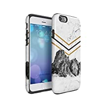 Rocky Mountains On White Cracked Marble Hard Plastic Shell & TPU Bumper Double Layer Tough Phone Case For Apple iPhone 6 & iPhone 6s