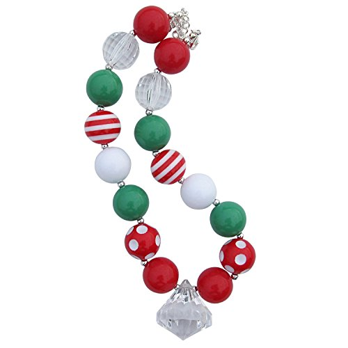 (So Sydney Chunky Bubblegum Beads Beaded Necklace For Little Girls, Kids, Teens, Moms (Christmas Dreams Red White)