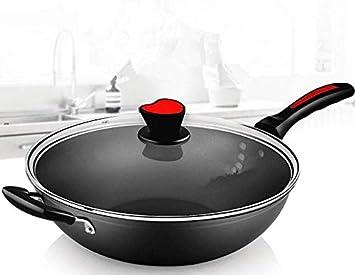 Sartén Antiadherente Sartén Sartén 34 Cm Sin Humo Olla Cocina De Inducción Estufa De Gas Llama Abierta Universal: Amazon.es: Hogar