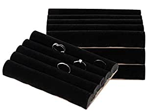 Ring Pads - 4-Pack Velvet Ring Display Trays, Ring Box Insert, Holder, Case, Ring Foam, for Jewelry Accessories Storage, Show, Retail, Shop, Home, Counter Top, 4 Slots, Black, 5.5 x 4 x 0.78 Inches