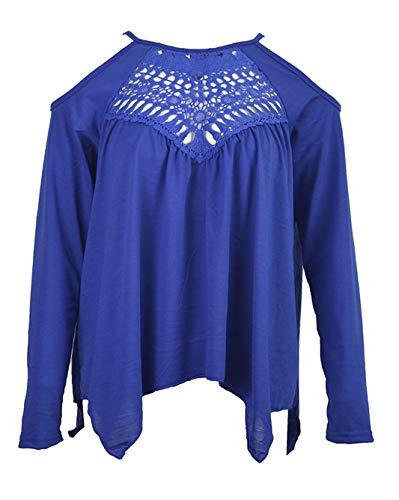 Blouse T Epaule Tees Creux Manches Hauts Bleu pissure Printemps et Dentelle Automne Shirts Tops Irregulier Longues Femmes Nu qnaHRv