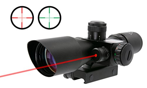Survival Land 2.5-10x40 Rifle Scope - Illuminated Red & Green Mil-dot Reticle - Perfect as a Hunting Scope, Tactical Scope, Paintball Scope, or Airsoft Scope - Comes with a Class 3 Red Laser.