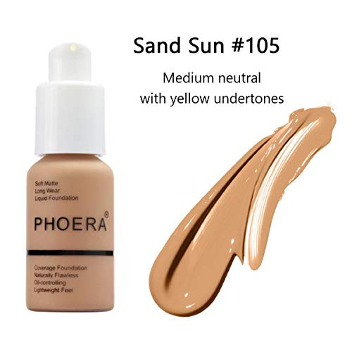 GARYOB Liquid Foundation PHOERA Liquid Matte Full Coverage Foundation Oil Control Brighten long-lasting Shade 30ml