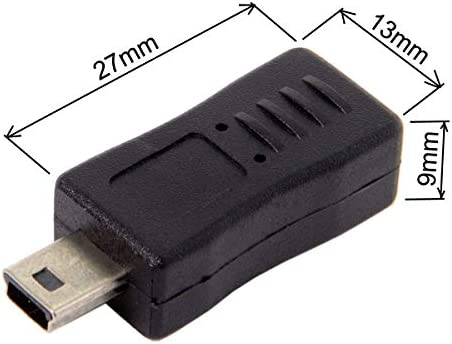 CY 2pcs Mini USB Male to Micro USB 5pin Female /& Mini Female to Micro Male Extension Adapter Black