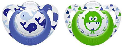 NUK 10175144 Genius Color Silikon-Schnuller, verbesserte kiefergerechte Form, noch zahnfreundlicher, 0-6 Monate, BPA frei, 2 Stück, Boy
