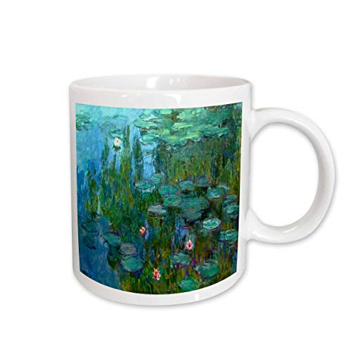 3dRose Monet's Water Lilies Painting Ceramic Mug, 15-Ounce