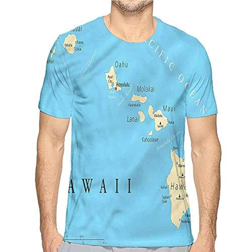 Jinguizi Mens t Shirt Hawaiian,Honolulu The Captal City HD Print t Shirt L