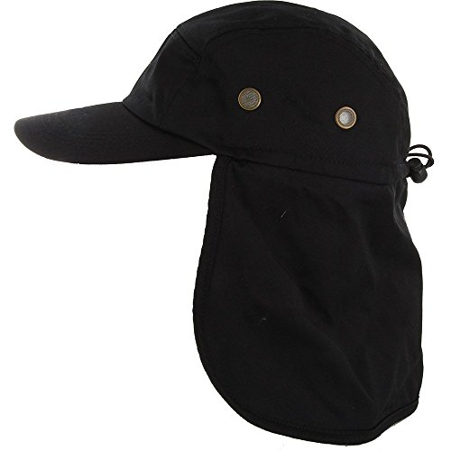 DealStock Fishing Cap with Ear and Neck Flap Cover - Outdoor Sun Protection Black Flap Hat