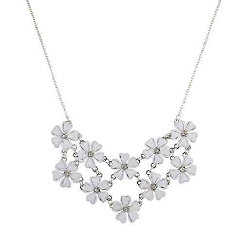 White Flower Necklace (Lux Accessories Silvertone and White Flower Floral Mini Statement Necklace)