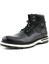 AG6021 - Men's Casual Boots, Genuine Suede and Leather Lace Up Combat Boots with Rubber Outsole, Padded Collar, and Inside Zipper