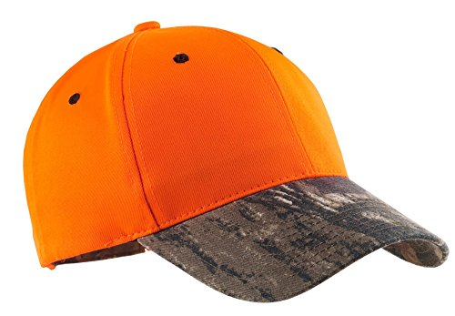 Port Authority Men's Safety Cap with Camo Brim OSFA Orange Blaze/Mossy Oak Blaze Orange Camo Cap