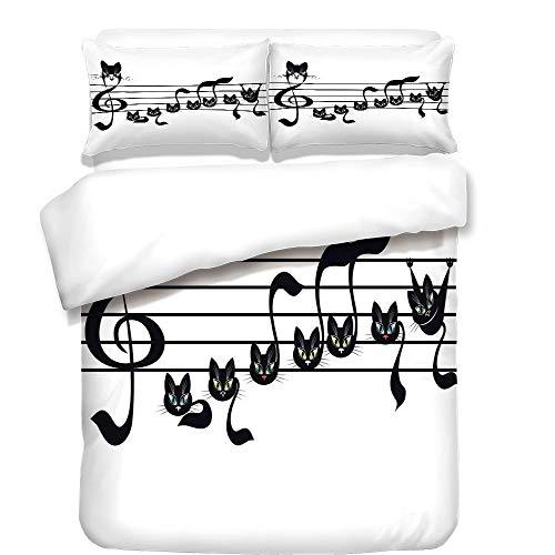 iPrint 3Pcs Duvet Cover Set,Music Decor,Notes Kittens Kitty Cat Artwork Notation Tune Children Halloween Stylized,Best Bedding Gifts for Family/Friends for $<!--$98.89-->