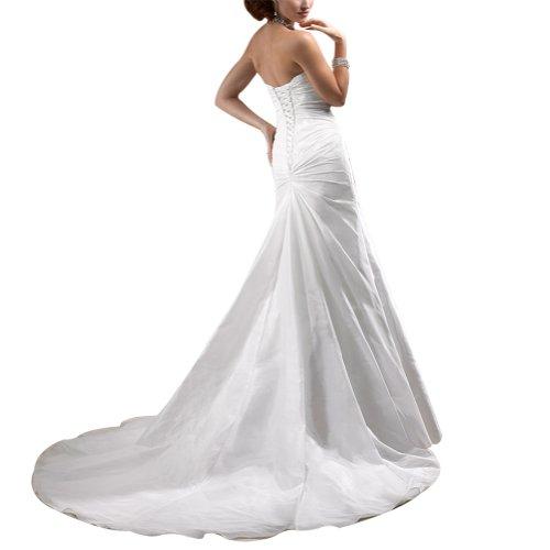 BRIDE Einfache traegerloses Weiß Zug GEORGE Hochzeitskleider Brautkleider Kapelle Taft d5xwERg