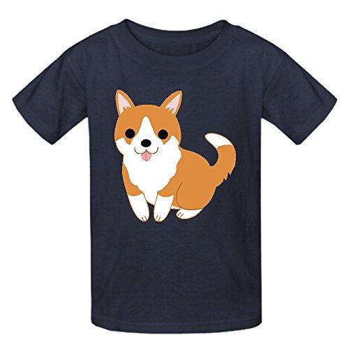 Puppy Volleyball Girl (Existlong Cute Corgi Puppy Clip Art T Shirts For Girls Crew Neck Grey)