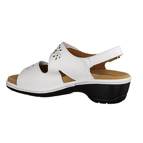 SLOWLIES 416–Chaussures Femme Sandales Confortable/sans insert, blanc, cuir
