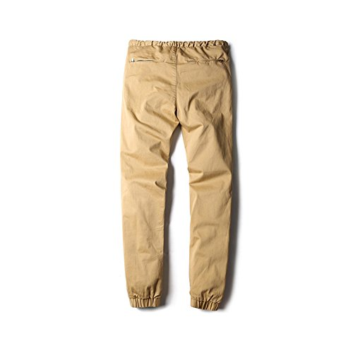 Bmeigo Hombre algodón Drop Crotch Slim Fit Twill Jogger Pantalones -G27 Khaki