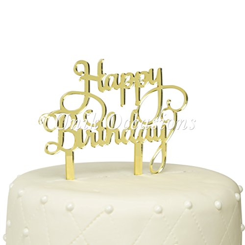 Unik Occasions Happy Birthday Acrylic Cake Topper (Gold Mirror) by Unik Occasions