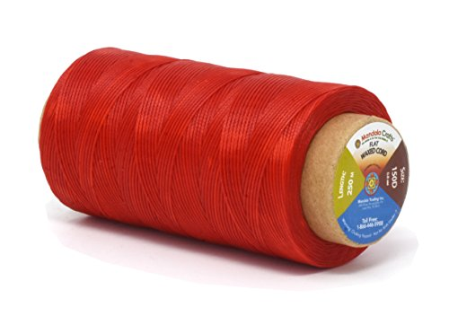 Mandala Crafts 150D 210D 0.8mm 1mm Leather Sewing Stitching Flat Waxed Thread String Cord (150D 0.8mm 250M, Red) (Waxy Pull)